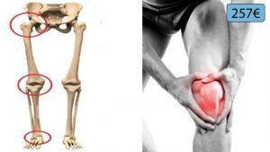 squelette et homme souffrant du genou