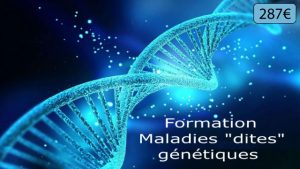 """branche ADN en filigrane avec texte : formation sur les maladies """"dites"""" génétiques."""
